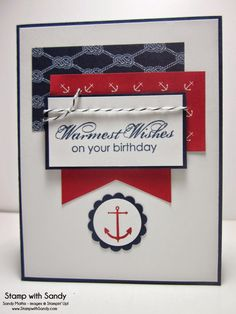 Sea Street and Blooming with Kindness stamp sets, Maritime DSP, Real Red and Night of Navy