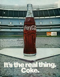 """Vintage 1970s magazine advertisement, Coca-Cola, baseball tribute, 1971 First sentence of advert: """"One of America's national pastimes -- drinking Coke -- salutes another -- baseball."""" Published in Ebony magazine, July 1971, Vol. 26 No. 9 Fair use/no known copyright. If you use this photo, please provide attribution credit; not for commercial use (see Creative Commons license)."""
