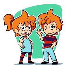 Create twin boy and girl cartoon characters by Angela Cuellar