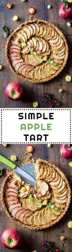 Quick and easy apple tart recipe to impress your guests. Delicious oat crust topped with sliced fresh apples and naturally sweetened. Tart Recipes, Fruit Recipes, Sweet Recipes, Real Food Recipes, Apple Recipes, Vegetarian Recipes, Healthy Apple Desserts, Just Desserts, Healthy Desserts