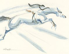 Jumping Horse Art Painting Grand Prix Jump Off by annarockwell, $75.00