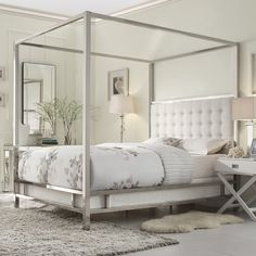 INSPIRE Q Solivita Off-white Linen Canopy Button Tufted Metal Poster Bed
