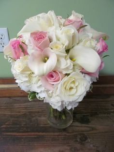 Wedding bouquet with White Cala Lilies, Pink Roses and White Hydrangea