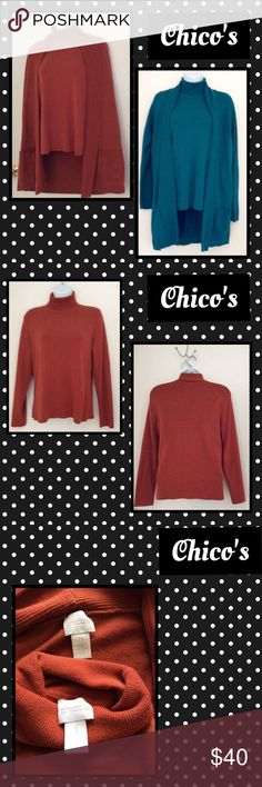 """🎀Turtle neck & Cardi set🎀 Beautiful Chico Cardi set in Jade and Rust. Turtle necks Chico Size 1 = conventional Medium. Cardi 's size 0 = convention small, but it looks larger so please go by measurements. Turtles across 20"""" approx 24"""" length, Cardi 21"""" across length 32"""" mild pilling on Cardi's., Turtles none. Cotton, polyester, nylon, silk.    $38 ea 2 for $60. Chico's Sweaters Cardigans"""