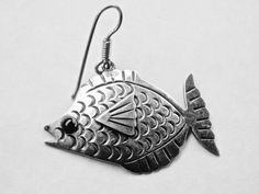 Vintage Mexican Earrings Taxco Silver Fish Pisces Earrings Black Onyx  A Pisces or someone out there who loves fish or fishing will want these