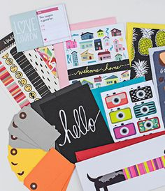 Happy Mail $15mo/1yr Subscription box of stationary, birthday cards and fun gift tags.  Great way to encourage others and send a note to those you love! A Beautiful Mess