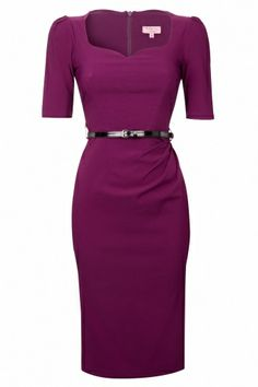 So Couture - Charlotte Sweetheart Pencil dress in Berry 1/2 sleeve