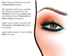 Face Chart :) Für den ultimativen Look mit MAC am Strand - schminke 20s Makeup, Makeup Is Life, No Eyeliner Makeup, Beauty Makeup, Face Makeup, Mac Face Charts, Red Lips Makeup Look, Makeup Face Charts, Nails Today
