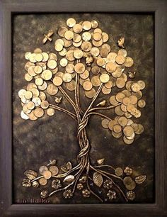 This glue art work gives a really nice effect making certain parts of the work look – artofit – Artofit Button Art, Button Crafts, Diy Canvas Art, Diy Wall Art, Art Diy, Coin Crafts, Glue Art, Coin Art, Money Trees