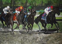 """Daily Paintworks - """"Preakness race"""" (Looking At Lucky)- Original Fine Art for Sale - © Kim Selig"""