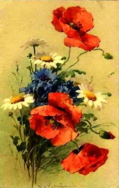 painting by Catherine Klein: Poppies, daisies, bachelor buttons ... blue, yelllow and red ... sweet nostalgia ...
