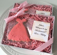 Decorated Personalized Will You Be My Bridesmaid Personalized Gift Box by peapodscookies
