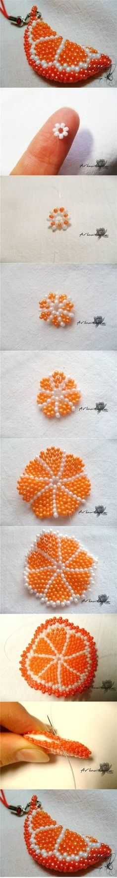 DIY Beaded Orange Slice Key Chain 2
