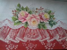 Lace Painting, Rose Paintings, Shabby Chic, Drawings, Dish Towels, Christmas Crafts, Paintings, Roses, Hand Fans