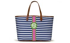 Barrington Gifts The St. Anne Tote – Monogram Stripe - Navy stripe with Pink and navy monogram