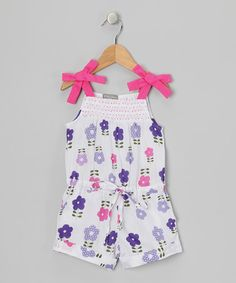 Take a look at this White & Purple Daisy Smocked Romper - Toddler & Girls by Petit Confection on #zulily today!