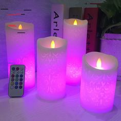 Dancing Flame LED Candle With RGB Remote Control,Wax Pillar Candle For Wedding Decoration Christmas Candle/Room Night Light Led Candle Lights, Candle Lamp, Flameless Candles, Pillar Candles, Christmas Candles, Christmas Decorations, Christmas Night, Candle Power, Led Dance