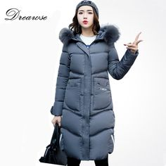 2017 New Winter Women Long Coat Fur Hooded Collar Thick Warm Slim Cotton Padded Jacket Female Plus Size Zippers Parka Winter Jackets Women, Coats For Women, Clothes For Women, Snow Wear, Womens Parka, Cotton Jacket, Fur Collars, Latest Fashion For Women, How To Wear