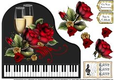 These Baby Grand Piano single sheets are designed for use with an 8x8 card blank to create a shaped card. A matching insert for all colours is also available seperately.    Each sheet contains a piano topper with floral, Christmas or celebratory elements, decoupage layers and a music book and greeting panel to be placed as you choose.