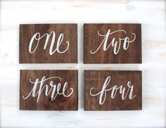 Rustic Calligraphy Wooden Table Numbers // The Paper Walrus #rusticweddings #tablenumbers #calligraphy