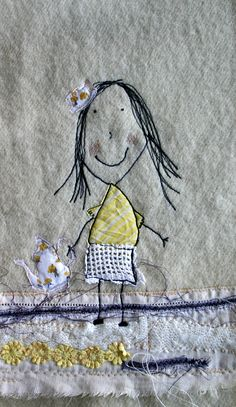 Embroidery Idea Original pinner says: freehand machine embroidery and collage using a little drawing by my daughter - Some fun with freehand machine embroidery and lots of my fabric scraps Sewing Machine Stitches, Freehand Machine Embroidery, Free Motion Embroidery, Free Machine Embroidery, Free Motion Quilting, Embroidery Applique, Embroidery Stitches, Embroidery Patterns, Machine Applique