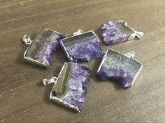 Your place to buy and sell all things handmade Amethyst Geode, Purple Amethyst, Natural Stones, Silver Plate, Charms, Jewelry Making, Unique Jewelry, Pendants, Etsy