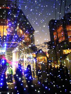 Osaka, Japan glittering with light from a strobe
