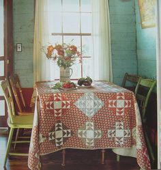 Farmhouse..love the quilt on the table!!!