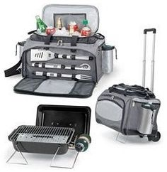Picnic Time Vulcan Propane BBQ Grill + Cooler & Trolley