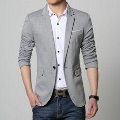 Men Suits New Slim Fit Casual jacket Cotton Men Blazer Jacket Single Button Gray Mens Suit Jacket 2016 Autumn Patchwork Coat Male Suite Smart Casual Blazer, Business Casual Suit, Mens Casual Suits, Mens Suits, Suit Men, Stylish Blazers, Slim Fit Blazer, Male Suit, Blazers For Men Casual