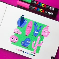 Inktober 2018 on Behance Posca Marker, Marker Art, Copic Drawings, Art Drawings Sketches, Paint Pens, Paint Markers, Posca Art, Arte Sketchbook, Cartoon Girl Drawing
