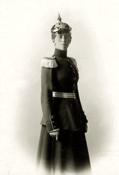 "Princess Viktoria ""Moretta"" of Prussia, Princess of Schaumburg-Lippe in military uniform including pickelhaube c.1900s"
