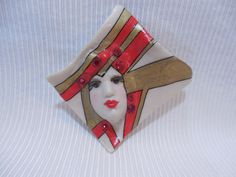 Gorgeous Vintage 1980s Ceramic Signed Face Mask Brooch Pin #7 Queen Red & Gold