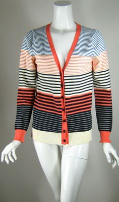 MILLY NEW YORK Multi Colored Striped Cotton Cardigan Sweater Size Medium #Milly #Cardigan