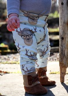 Baby Leggings | Baby Boy Leggings | Baby Girl Leggings | Grey Hipster Deer