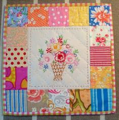 Salvage some vintage embroidery and use in a quilt block.
