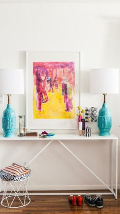 Turquoise lamps.  Love painting.