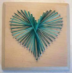 ***Our daughter made this last Xmas for her sister. She chose multicolored string, so it's reds and yellows and greens and blues. Super cute and very easy*** Nail & String Art Heart (Diy Art Pictures) String Art Heart, Nail String Art, String Crafts, Pin Art String, Resin Crafts, Trendy Nail Art, Easy Nail Art, Arte Linear, String Art Patterns