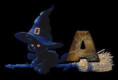 Alfabeto tintineante de gatito con gorro de bruja. | Oh my Alfabetos!