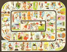 vintage game board. looks a little like the Life game.