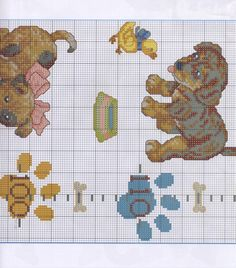 Cross Stitch For Kids, Cross Stitch Baby, Dogs And Puppies, Kids Rugs, Sewing, Crafts, Animals, Cross Stitch Embroidery, Dogs