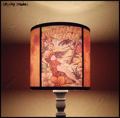 Hawaiian Pinup Lamp Shade Lampshade pin up - comic book, rockabilly, psychobilly, tiki decor, pin up decor, tropical decor. €45.00, via Etsy.