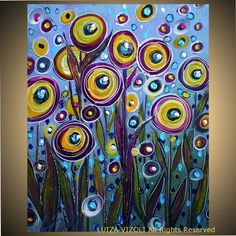 Original Modern Abstract Fantasy Whimsical Flowers by fineartsale