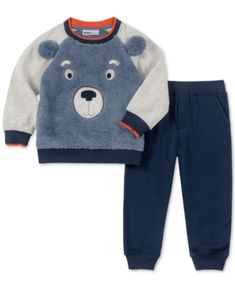 Kids Headquarters Little Boys Fuzzy Bear Face Top & Pants Set - Assorted 6 Toddler Boys, Baby Kids, Carters Baby Boys, Baby Boy Outfits, Kids Outfits, Kids Headquarters, Usa Baby, Bear Face, Fleece Joggers