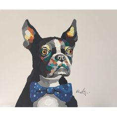 """A playful pop art depiction of man's best friend! Oil painting on canvas, each painting can vary slightly.  36""""x48"""", with frame measures 44""""x56"""".  Price includes frame."""