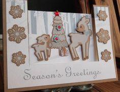 Kat's Scrap Box - Christmas easel card, sweet deer, winter seen with CTMH, with  Carta Bella
