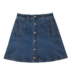 bebe Alexa Denim A-Line Skirt (355 BRL) ❤ liked on Polyvore featuring skirts, bebe, a line skirt, knee length denim skirt, blue skirt and bebe skirts