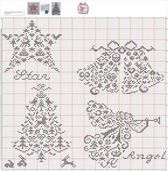 Quaker Motifs • Page 1: Charts for Star, Bells, Christmas Tree and Angel