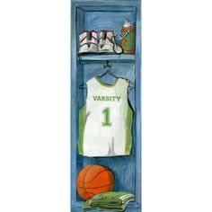 Oopsy Daisy - Basketball Locker Canvas Wall Art 12x36, Jones Segarra