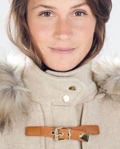 Image 4 of WOOL DUFFLE COAT WITH FUR HOOD from Zara